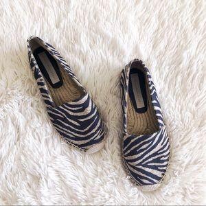 STELLA MCCARTNEY black zebra print espedrilles